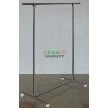 Тръбен метален стелаж - никелиран, с възможност за стопиране на колелцата