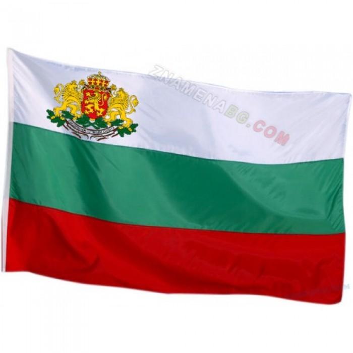 Български флаг с герб от полиестер
