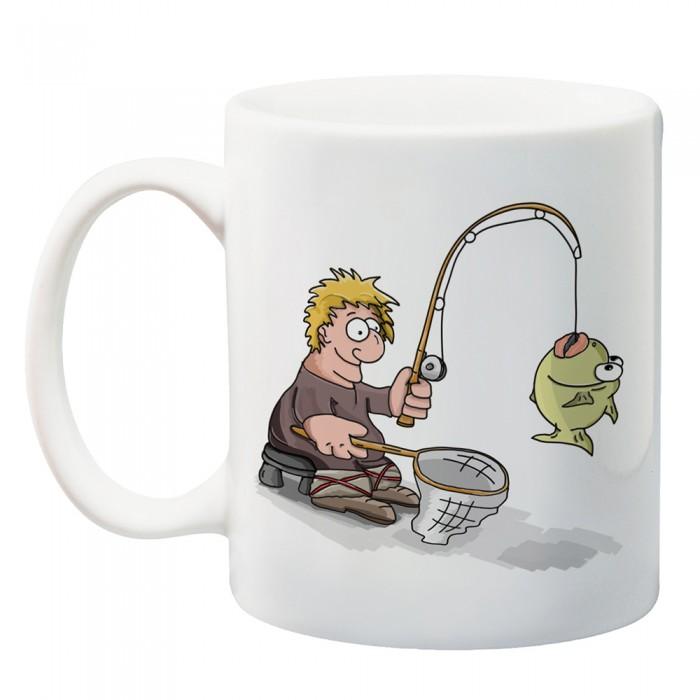 Чаша с карикатута рибар - подарък за Никулден