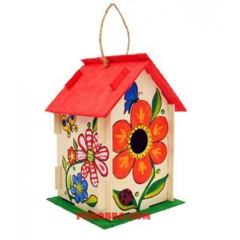 Дървена къщичка за птички - сглоби и оцвети на промоция