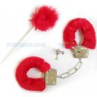 Секси белезници с пухчета червени