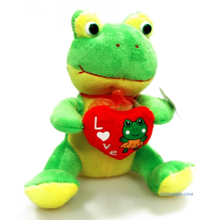 """Плюшена музикална играчка жаба с надпис """"LOVE"""""""