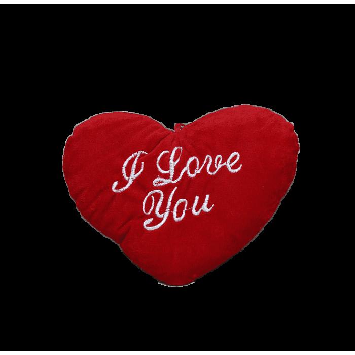 Плюшена възглавничка във формата на сърце с надпис  - I Love you